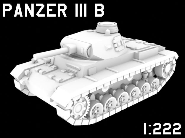 1:222 Scale Panzer III B in White Natural Versatile Plastic