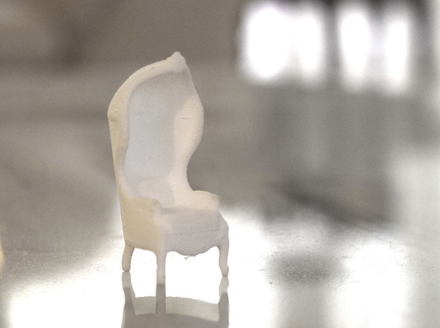 """Armchair-Roof 1/2"""" Scaled in White Processed Versatile Plastic: 1:24"""