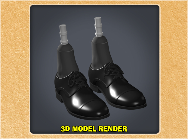 1:9 Scale Dress Shoes Tall in White Processed Versatile Plastic