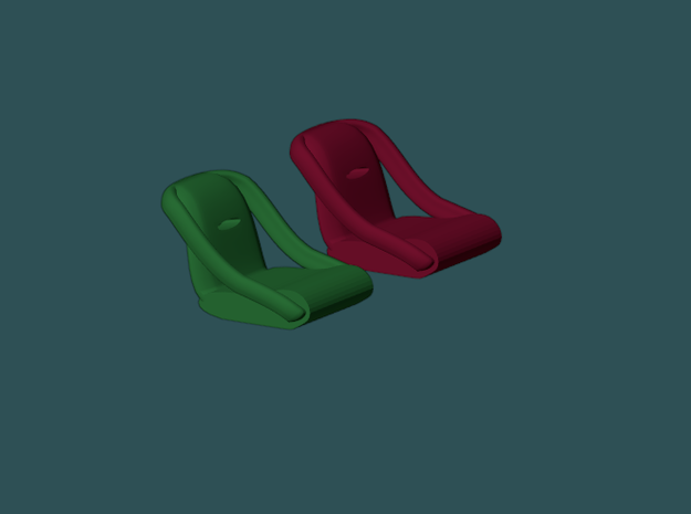 1/60 vintage race seat in Smooth Fine Detail Plastic