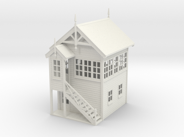 VR Signal Box #1 [Left Stairs] 1:76 Scale in White Natural Versatile Plastic