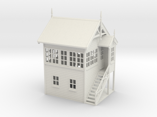 VR Signal Box #1 [Right Stairs] 1:76 Scale in White Natural Versatile Plastic