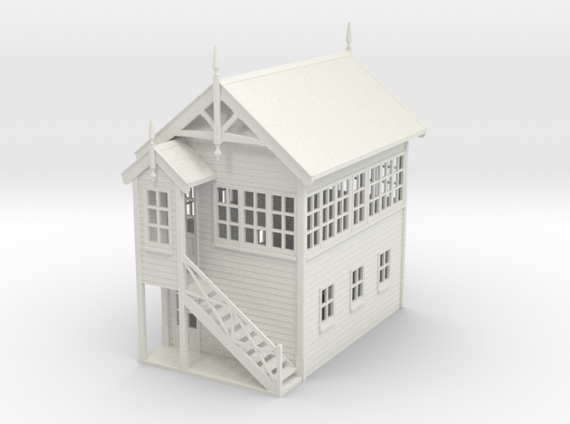VR Signal Box #2 [Left Stairs] 1:76 Scale in White Natural Versatile Plastic