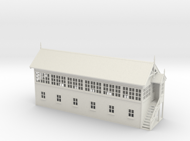 VR Signal Box #4 [Right Stairs] 1:76 Scale in White Natural Versatile Plastic