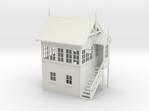 VR Signal Box #1 [Right Stairs] 1:48 Scale in White Natural Versatile Plastic