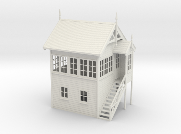VR Signal Box #1 [Right Stairs] 1:19 Scale in White Natural Versatile Plastic
