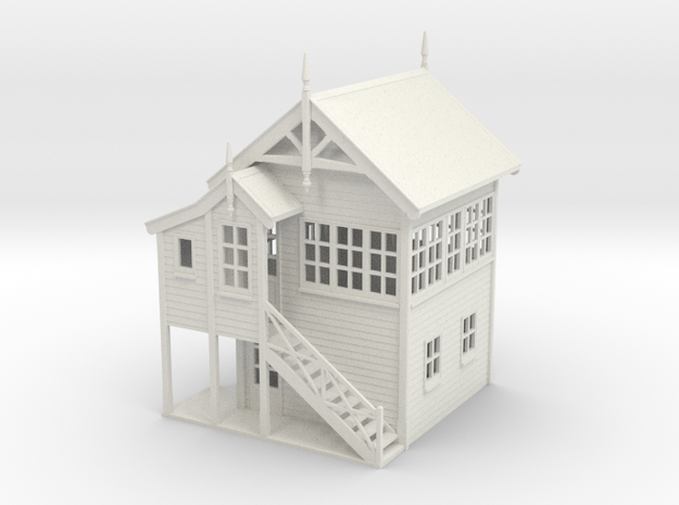 VR Signal Box #1 [Left Stairs &Toilet] 1:87 Scale in White Natural Versatile Plastic