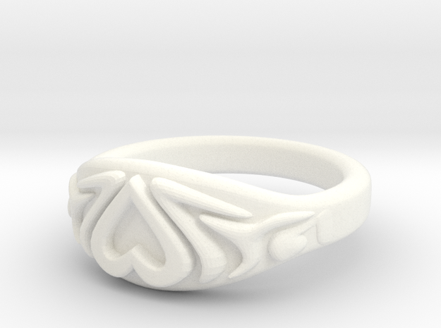 Heart Ring very small in White Strong & Flexible Polished