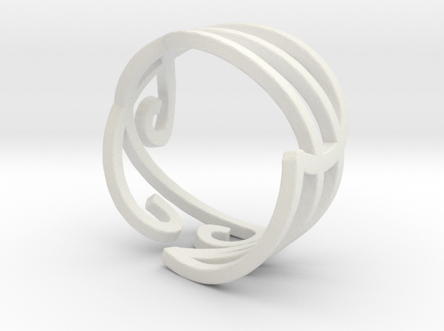 Swirly Elven Ring (size 9) in White Natural Versatile Plastic