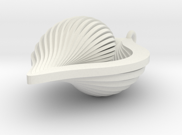 Shell Ornament 2 (revised) in White Natural Versatile Plastic