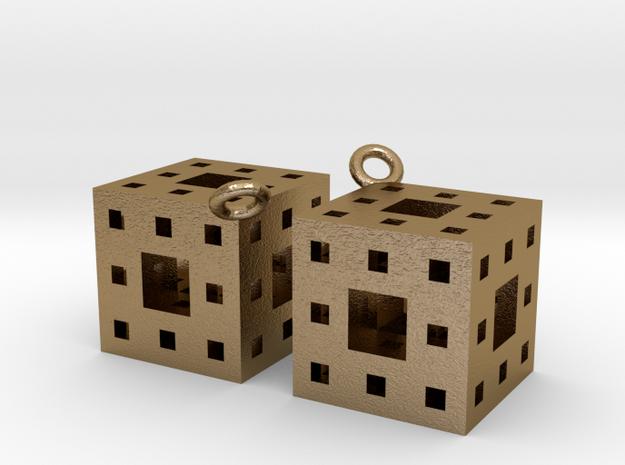 Menger Sponge Earrings 3d printed