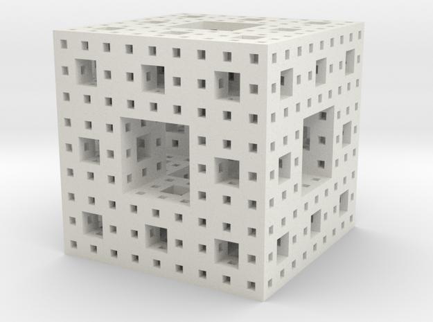 Menger sponge - 3 steps in White Natural Versatile Plastic