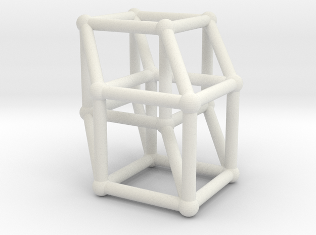 8-cell (Hypercube) in White Natural Versatile Plastic