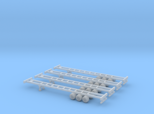 53 foot Container Chassis - Set of 4 - Z scale in Frosted Ultra Detail