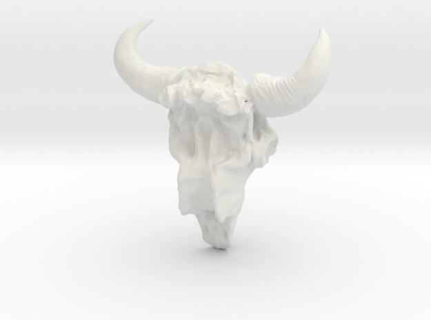 Bison Skull 5.2 cm in White Natural Versatile Plastic