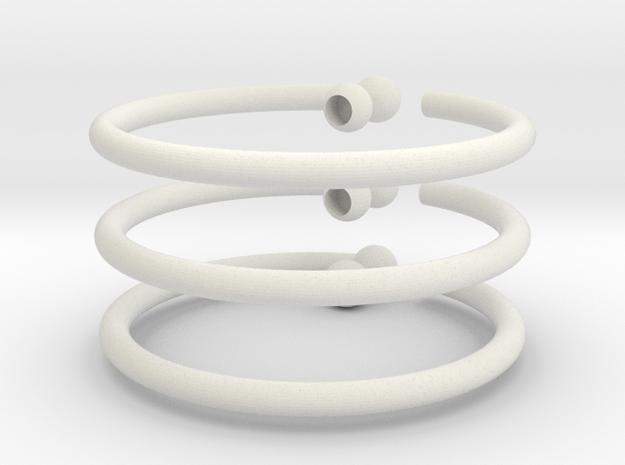 Glass Charm 3 Rings in White Natural Versatile Plastic