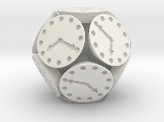 Dodclock Die (3 cm) in White Natural Versatile Plastic
