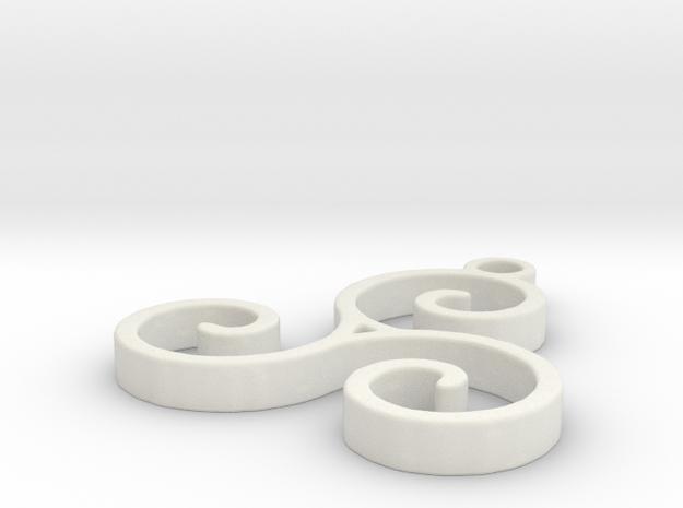 Triskel Pendant in White Natural Versatile Plastic