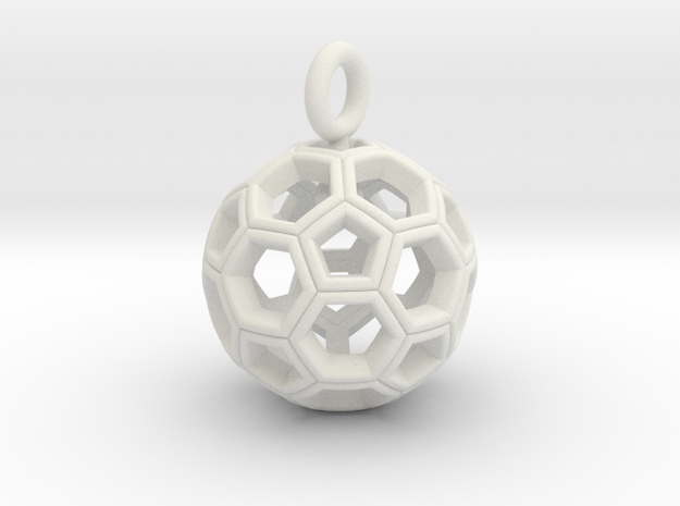 Soccer Ball Pendant /Keyring in White Natural Versatile Plastic