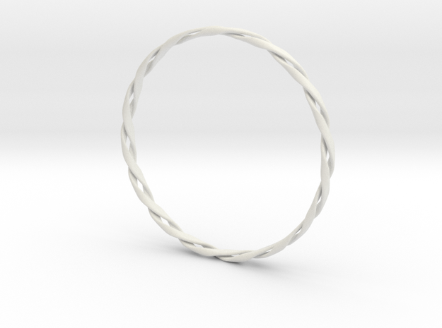 Twist Bangle in White Strong & Flexible