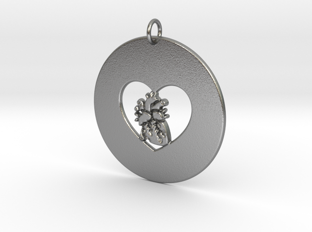 My Heart is in Your Heart Pendant in Natural Silver