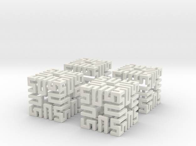 4 Springy Cubes in White Strong & Flexible