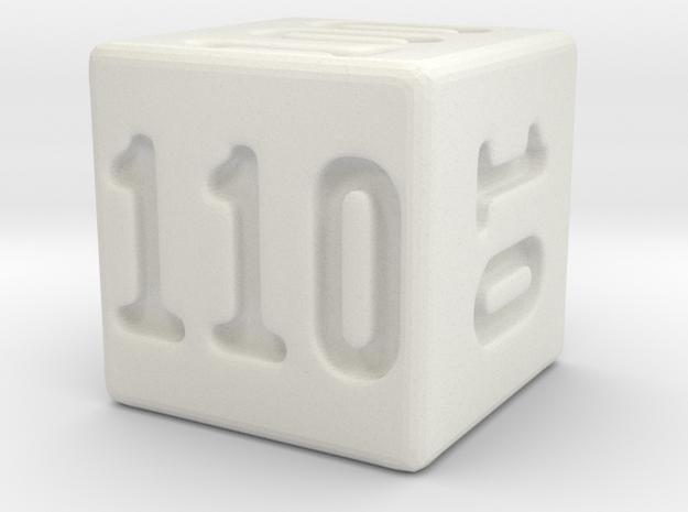 Binary 110-Sided Die in White Natural Versatile Plastic