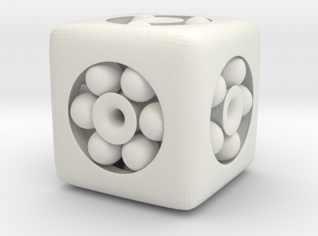 Ball Bearing 6-Sided Die (small) in White Natural Versatile Plastic