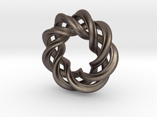 Charm Bead 3 strand mobius spiral in Polished Bronzed Silver Steel
