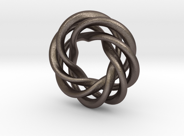 Charm Bead 4 strand mobius spiral in Polished Bronzed Silver Steel