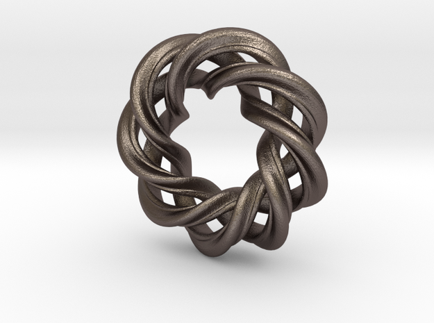 3 strand right hand mobius spiral charm bead in Polished Bronzed Silver Steel