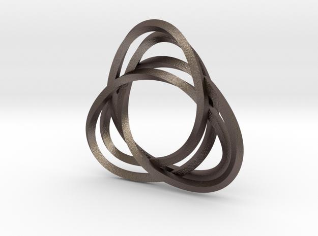 Tri mobius twin rail - pendant in Polished Bronzed Silver Steel