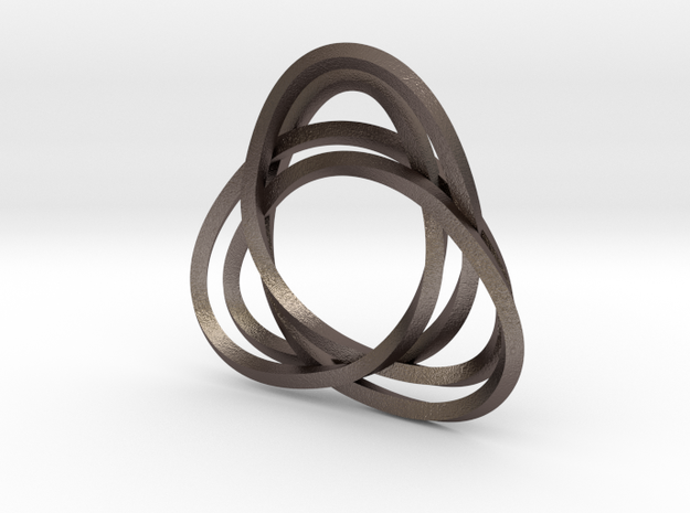 Tri mobius twin rail left earring in Polished Bronzed Silver Steel