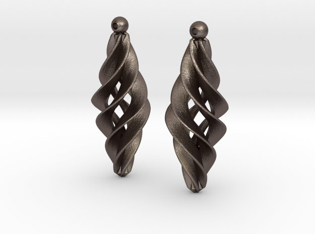 Spiral Star earrings pair in Polished Bronzed Silver Steel