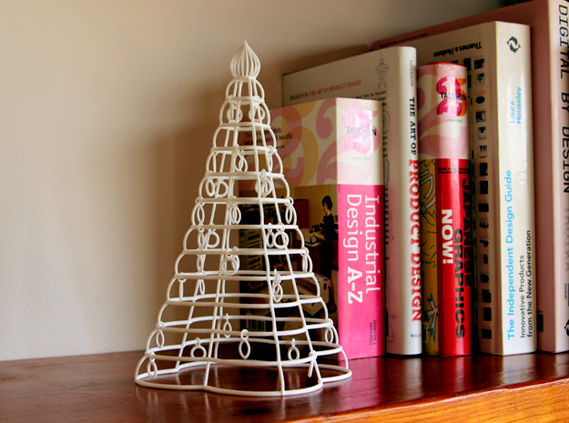 "Christmas tree ""Tower"" in White Natural Versatile Plastic"