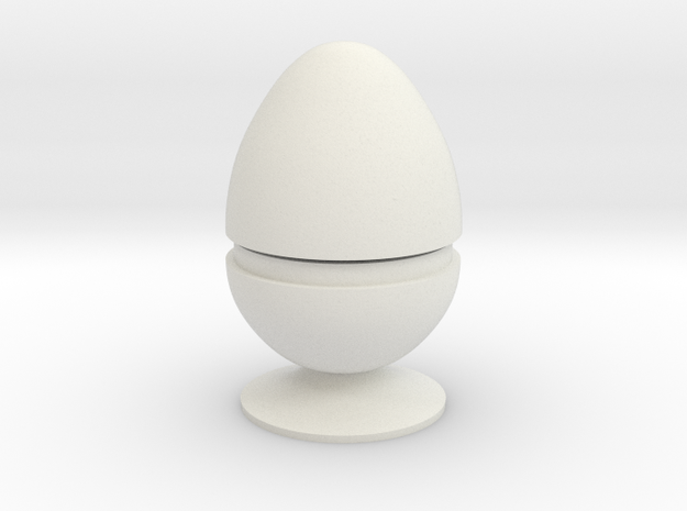 Two part hollow egg shell with foot in White Natural Versatile Plastic