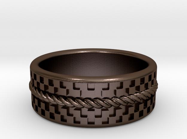 Check Rope ring 17.5mm, US 7 1/4, UK O1/2 3d printed