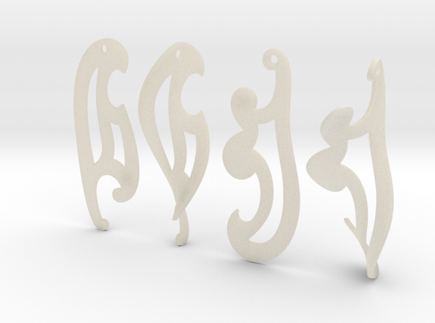 3d French Curves Earrings 3d printed