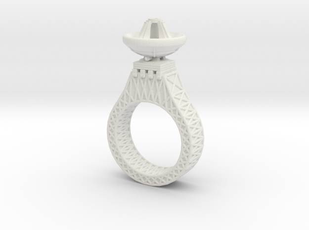 Parabora Ring 02 in White Strong & Flexible