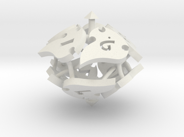 Tocrax Ten-Sided Die in White Natural Versatile Plastic