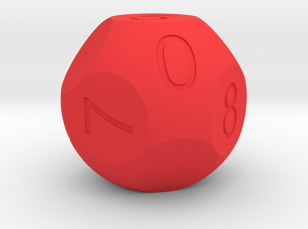 D10 3-fold Sphere Dice in Red Strong & Flexible Polished
