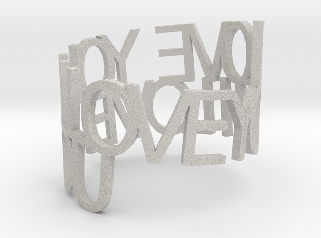 I LOVE YOU Ring Poem 3d printed
