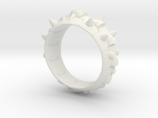 Armor Ring 01 (with the hole which sets the stone) in White Natural Versatile Plastic