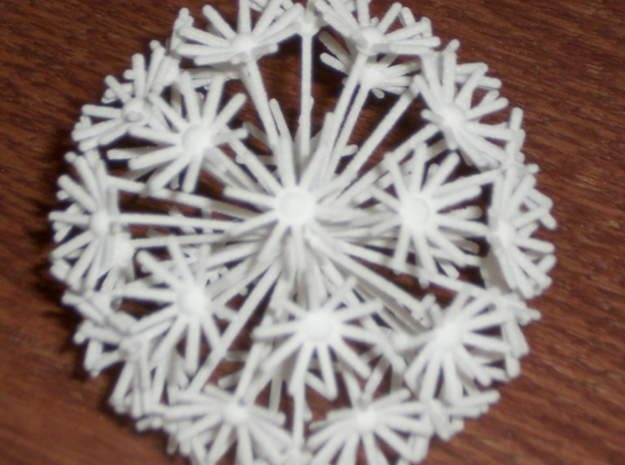 Small Dandelion 3d printed Small Dandelion (older model; newer has thicker stems & 11 petals) in white strong and flexible plastic