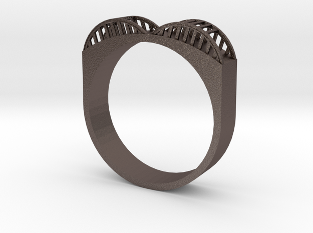Howard Street Bridge Ring in Polished Bronzed Silver Steel