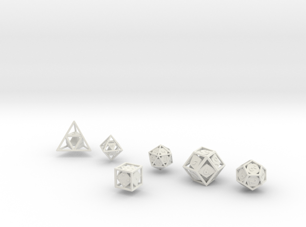 """Open"" dice set: 6 dice! 3d printed"