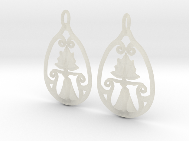 Art Nouveau Goddess of Progress Earrings in Transparent Acrylic