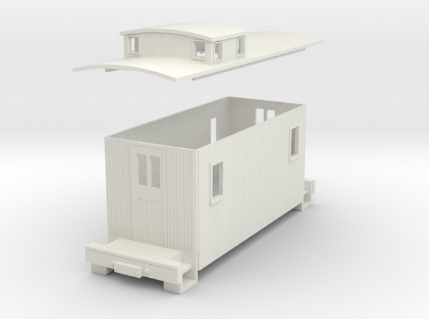 HOn30 Small caboose  in White Natural Versatile Plastic
