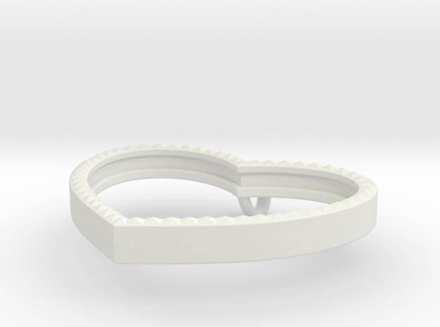Heart Pendant Frame faceted in White Natural Versatile Plastic