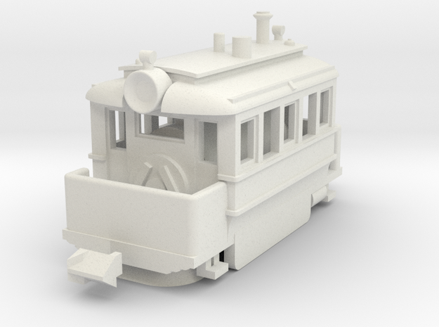 1001-2 Baldwin Steam Tram (Type A) 1:148 in White Natural Versatile Plastic